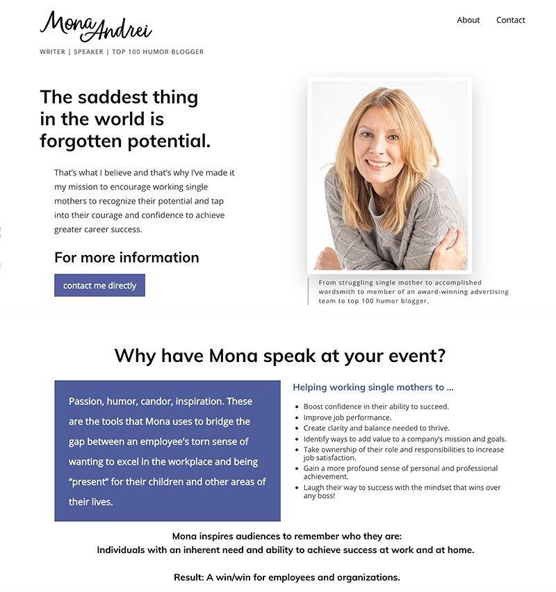 Mona Andrei conception de site web